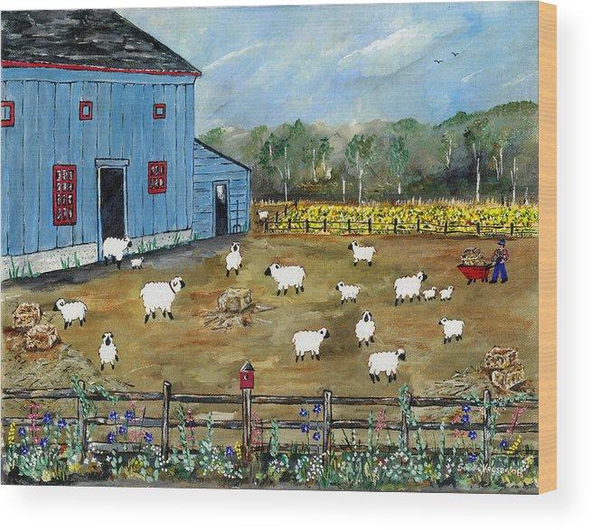 Folk Art Wood Print featuring the painting My Neighbor by Sandie Keyser