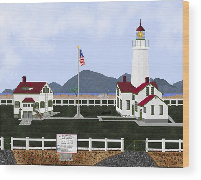 Lighthouse Wood Print featuring the painting New Dungeness Lighthouse At Sequim Washington by Anne Norskog
