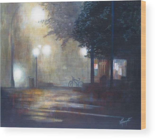 Fog Wood Print featuring the painting Night Fog by Victoria Heryet