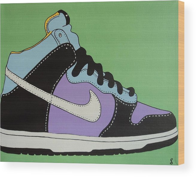 Shoe Wood Print featuring the painting Nike Shoe by Grant Swinney