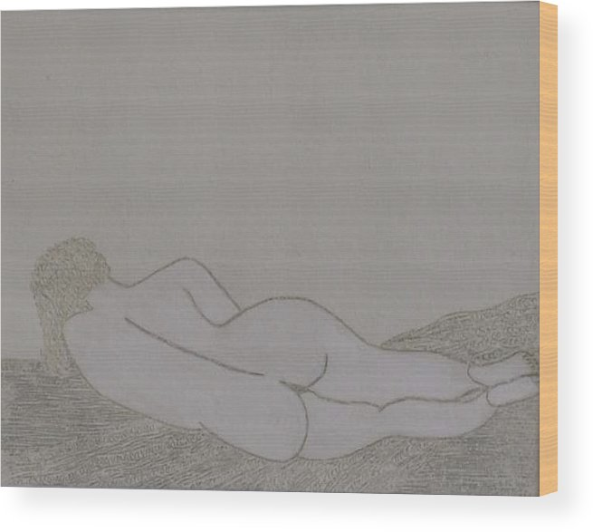 Nude Study; Silver Point Wood Print featuring the drawing No.322 by Vijayan Kannampilly