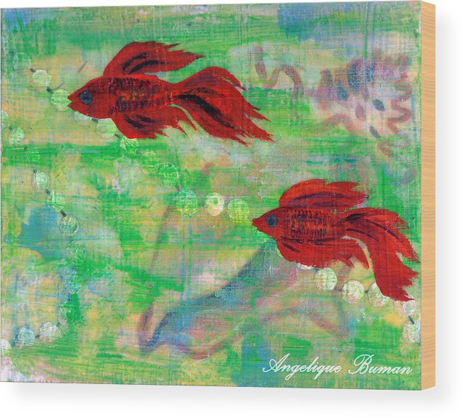 Animals Wood Print featuring the painting Ocean Layers by Angelique Bowman