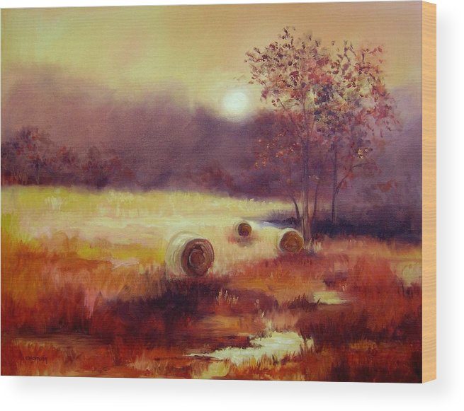 Fall Landscapes Wood Print featuring the painting October Pasture by Ginger Concepcion