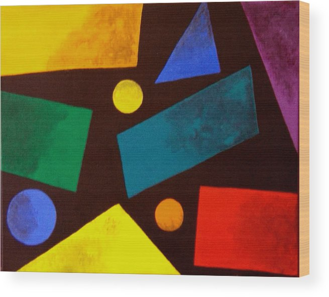 Abstract Wood Print featuring the painting Odd Man Out by Linda Powell