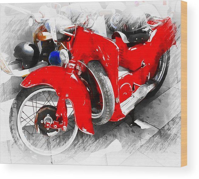 Classic Motorbike Wood Print featuring the photograph Old But Not Forgotten by Dorothy Berry-Lound