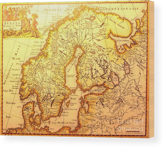 photo relating to Scandinavia Map Printable called Aged Nordic Map Wooden Print