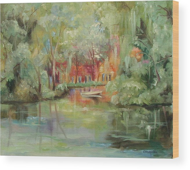 Bayou Wood Print featuring the painting On A Bayou by Ginger Concepcion