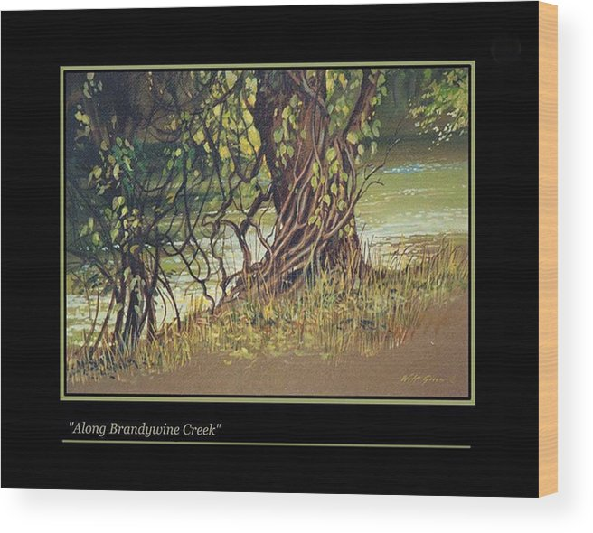 Landscape Wood Print featuring the painting On Brandywine Creek by Walt Green