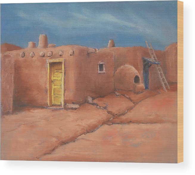 Taos Wood Print featuring the painting One Yellow Door by Jerry McElroy