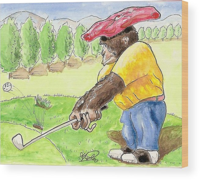 Golf Wood Print featuring the painting Oops by George I Perez