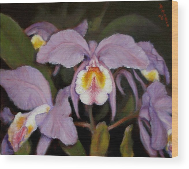 Realism Wood Print featuring the painting Orchids by Donelli DiMaria
