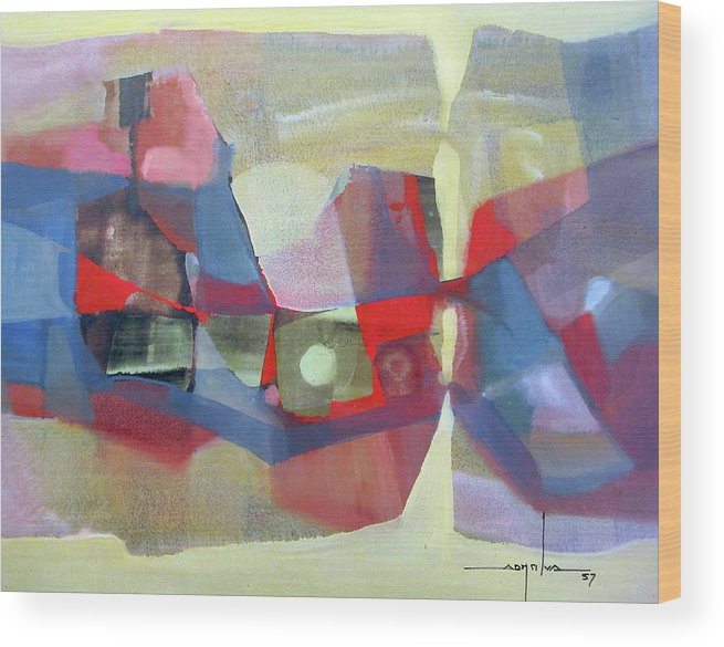 Oil Abstract Wood Print featuring the painting Os1957bo003 Abstract Landscape Potosi 23.75x18.25 by Alfredo Da Silva