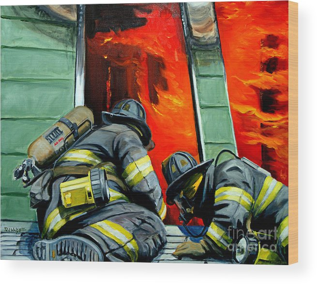 Firefighting Wood Print featuring the painting Outside Roof by Paul Walsh
