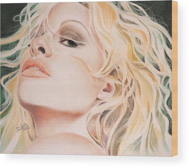 Pamela Anderson Wood Print featuring the drawing Pamela Anderson by Zilah Kane