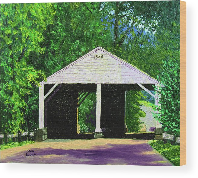 Covered Bridge Wood Print featuring the painting Park Covered Bridge by Stan Hamilton