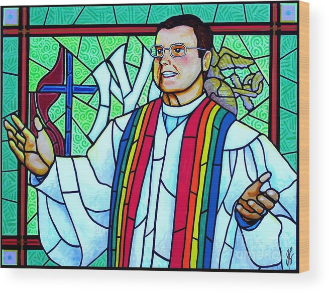 Pastor Wood Print featuring the painting Pastor Charlie by Jim Harris