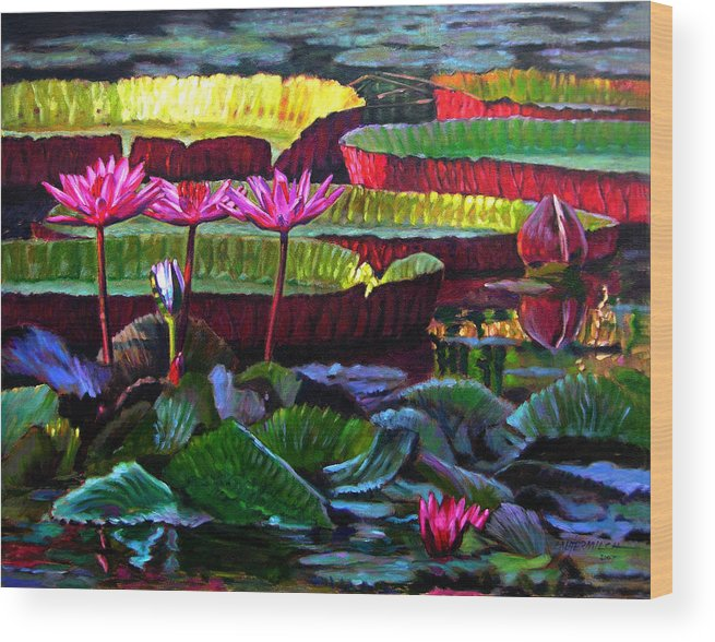 Water Lilies Wood Print featuring the painting Patterns Of Color And Light by John Lautermilch