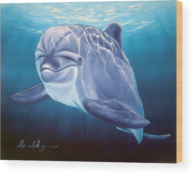 Dolphin Wood Print featuring the painting Peaceful Greeting by Daniel Bergren
