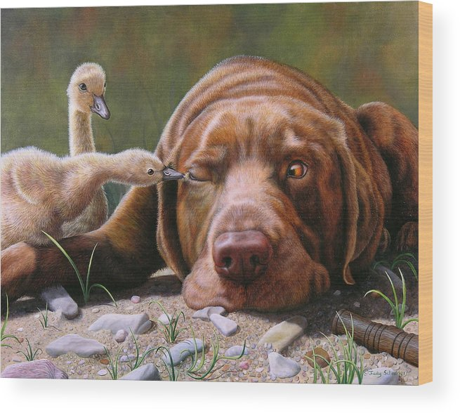Labrador Wood Print featuring the painting Pecking Order by Judy Schrader
