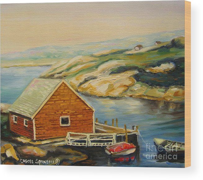 Peggy's Cove Harbor View Wood Print featuring the painting Peggys Cove Harbor View by Carole Spandau