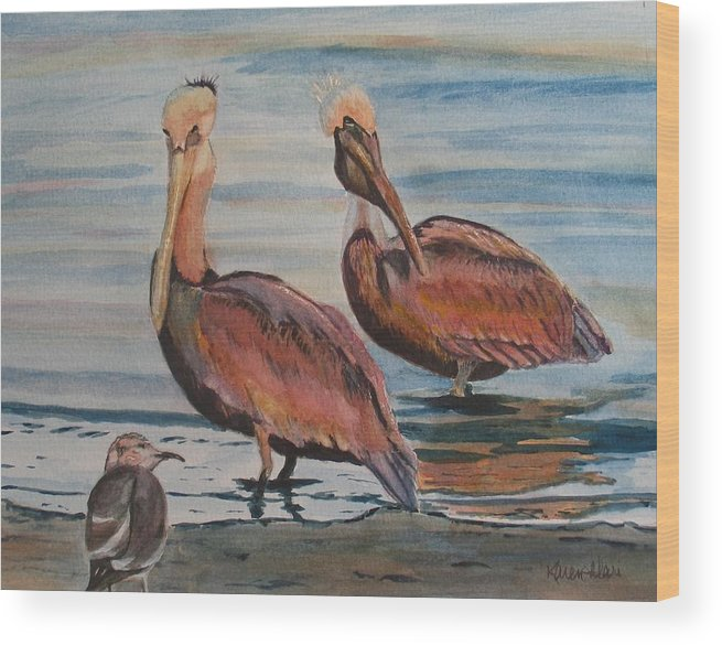 Pelicans Wood Print featuring the painting Pelican Party by Karen Ilari