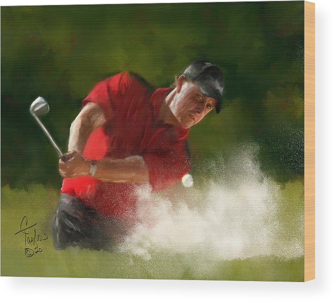 Golf Wood Print featuring the painting Phil Mickelson - Lefty In Action by Colleen Taylor