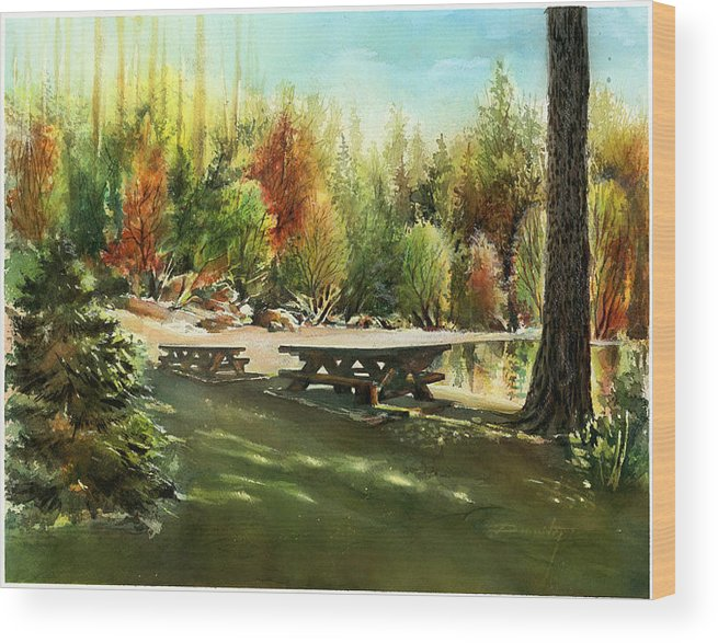 Landscape Wood Print featuring the painting Picnick Tables by Dumitru Barliga