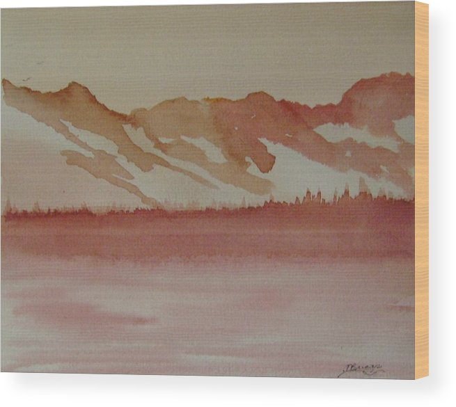 Mountains Wood Print featuring the painting Pink Mountains by Dottie Briggs