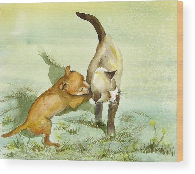 Dog Wood Print featuring the painting Play Time by Gina Hall