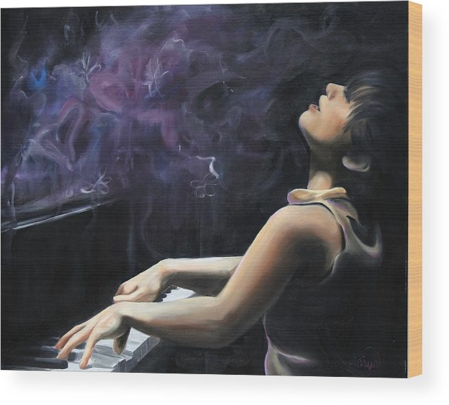 Piano Wood Print featuring the painting Playing With Feeling by Maryn Crawford