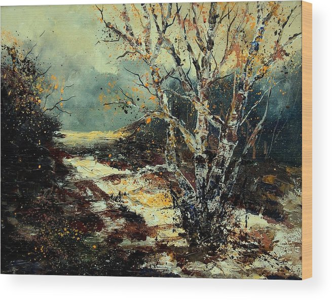 Tree Wood Print featuring the painting Poplars 45 by Pol Ledent