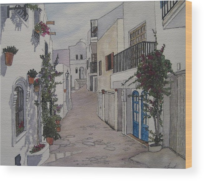 Spain Wood Print featuring the painting Pueblo by Victoria Heryet