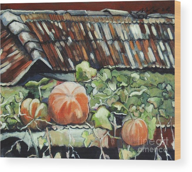 Pumpkin Paintings Wood Print featuring the painting Pumpkins On Roof by Seon-Jeong Kim