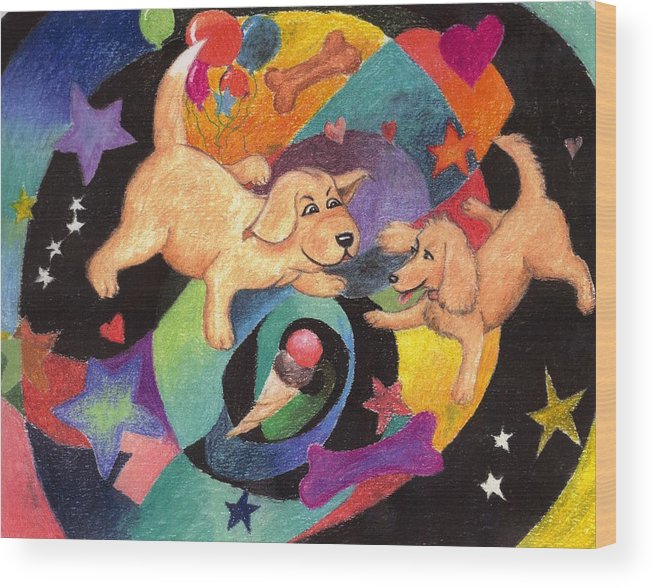 Puppy Wood Print featuring the pastel Puppy Dog Dream by Larry Whitler
