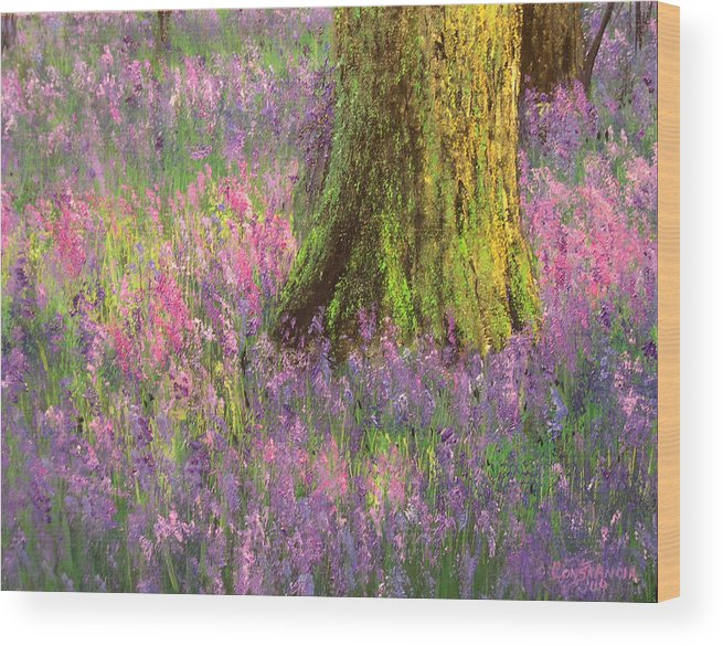 Connie Tom Wood Print featuring the painting Purple Passion by Connie Tom