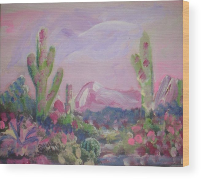 Landscape Wood Print featuring the painting Purple Surprise by Lindsay St john