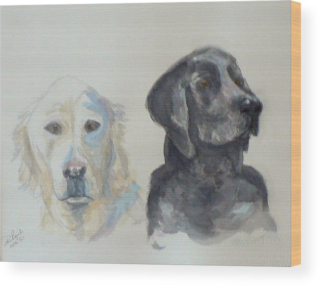 2 Dogs Wood Print featuring the painting Quincy And Bodie by Dan Bozich