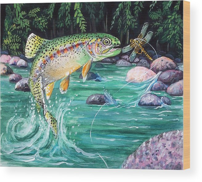 Fish Wood Print featuring the print Rainbow Trout by Bette Gray