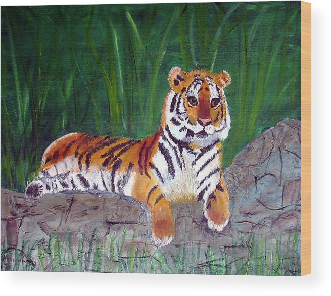 Animal Wood Print featuring the painting Rajah by Marcia Paige