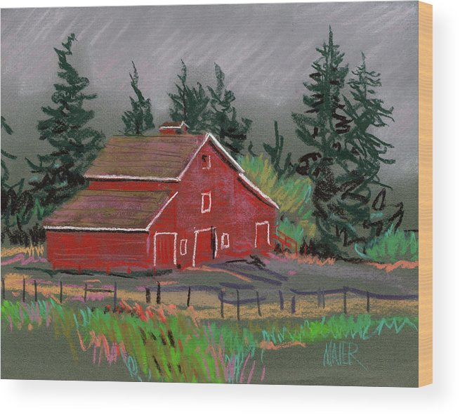 Red Barn Wood Print featuring the drawing Red Barn In La Honda by Donald Maier