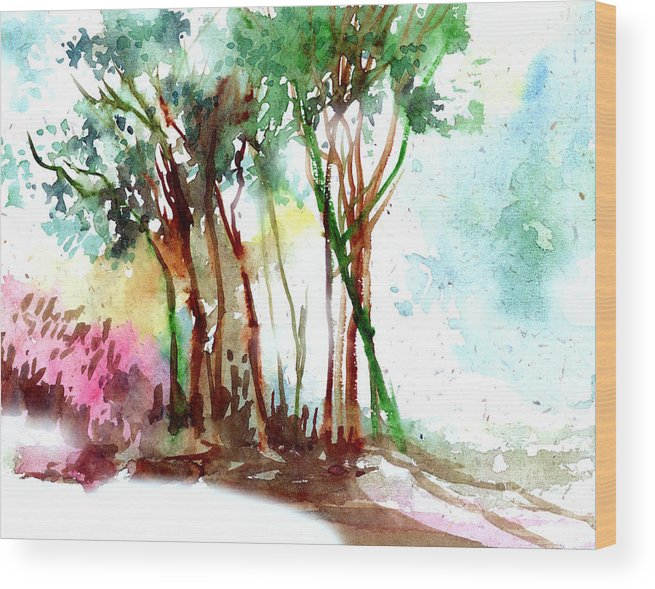 Landscape Wood Print featuring the painting Red Trees by Anil Nene