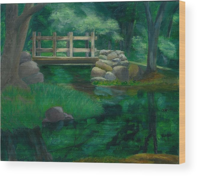 Summer Water Reflections Stream Bridge Landscape Rocks Green Park Wood Print featuring the painting Reflections At Chatfield Hollow by Paula Emery