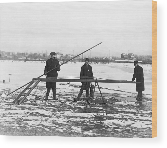 1910s Wood Print featuring the photograph Rescue For Skating On Thin Ice by Underwood Archives