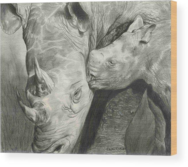Rhino Wood Print featuring the drawing Rhino Love by Carla Kurt