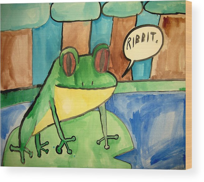 Emarc Wood Print featuring the painting Ribbit by Sean Cusack