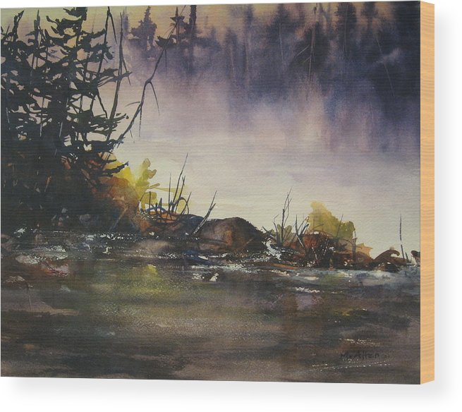Lake Wood Print featuring the painting Rising Mist by Madelaine Alter