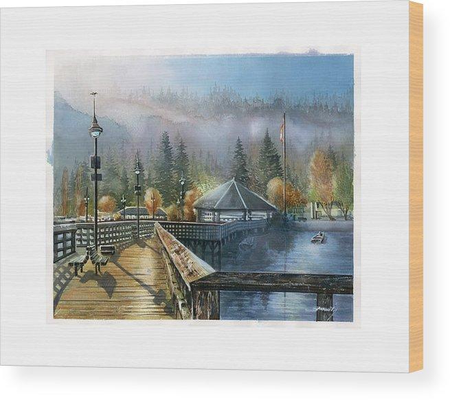 Landscape Wood Print featuring the painting Rocky Point Park by Dumitru Barliga