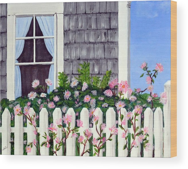 Cottage Wood Print featuring the painting Rose Cottage by Nancy Sisco
