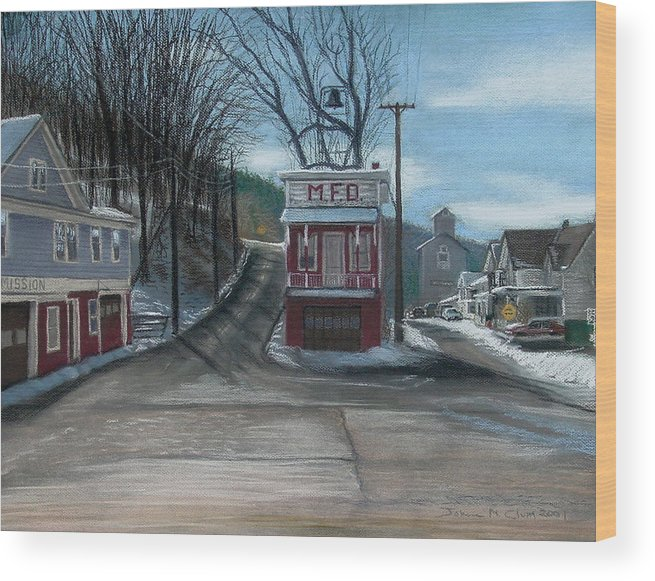 Firehouse Wood Print featuring the painting Route 6 Meshoppen Pa by John Clum
