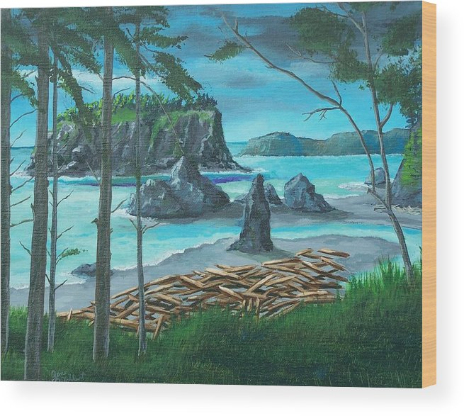 Stormy Ocean Wood Print featuring the painting Ruby Beach by Gene Ritchhart